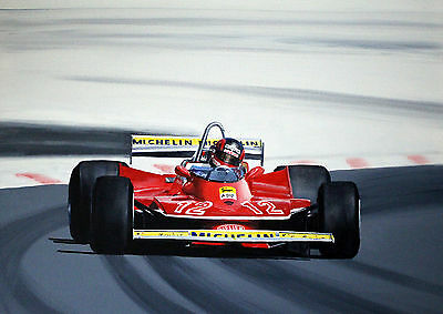 "Gilles Villeneuve French GP 1979.  A2   24""x18""   Print"