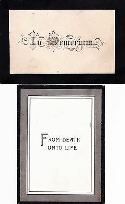Victorian Folding  In Memoriam Cards X 2. Husband & Wife. 1884, 1893