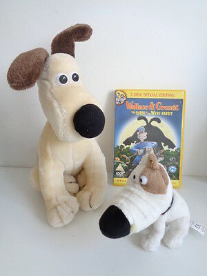 """Wallace & Gromit - 11"""" Gromit + 5"""" Philip The Dog Soft Toys + 2 Disc Dvd"""