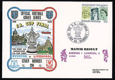 Wwfdcs Gb 1986 First Day Cover F.a. Cup Final Liverpool Everton Shs Wembley