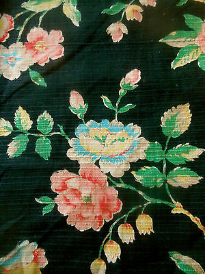 Vtg. French Tree of Life Floral Cotton Fabric ~Yellow Pink Red Blue Green Black