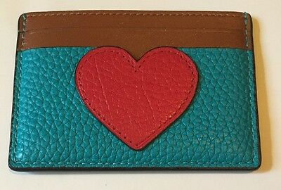 NWT Coach  F63279 Signature Credit Card Case Red Heart Pebbled  Blue leather