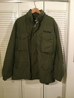 VINTAGE M-65 FIELD JACKET Military COAT LARGE Olive Green Alpha Industries 1970