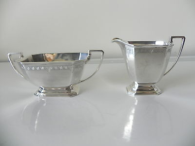 vintage art deco sterling silver cream jug & sugar bowl set