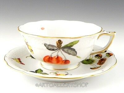 Herend Hungary MARKET GARDEN FRUITS VEGETABLES HANDPAINTED CUP AND SAUCER Mint