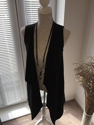 New Look Ladies Long Black Waistcoat Size 8