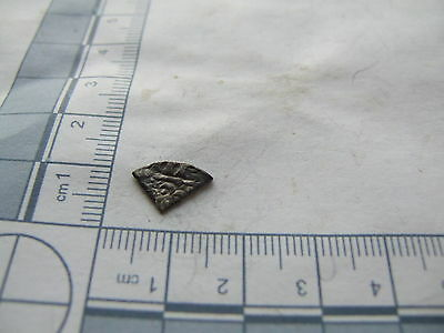 Cut quarter long cross hammered silver coin, metal detecting find.