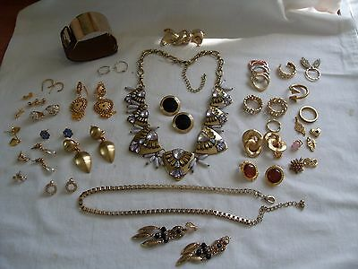 Job Lot Of Nice Gold Plated/tone Costume Jewellery,earrings/rings,m+S Necklace.