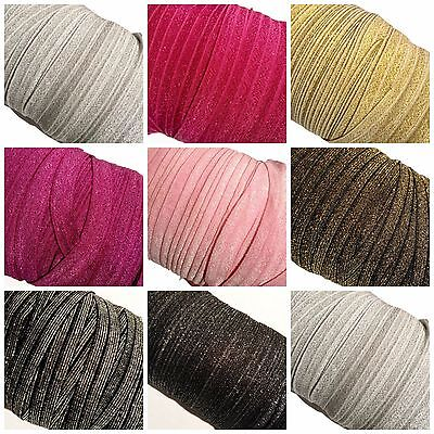"10 yard Grab Bag solid metallics 5/8"" fold over elastic FOE DIY baby headbands"