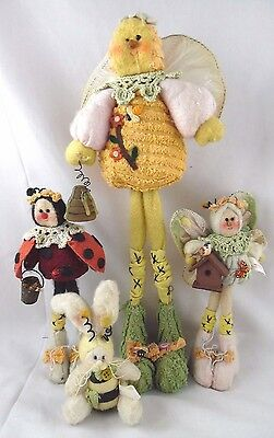 Set(4) Melissa Ann Bee, Butterfly, Lady Bug & Bunny Bee Soft Animals Figurines