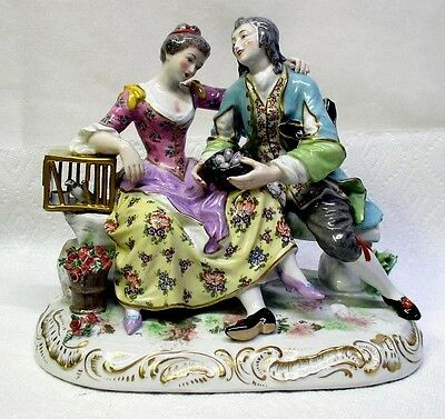 Lovely Large Antique French Porcelain Couple Grouping Figurine