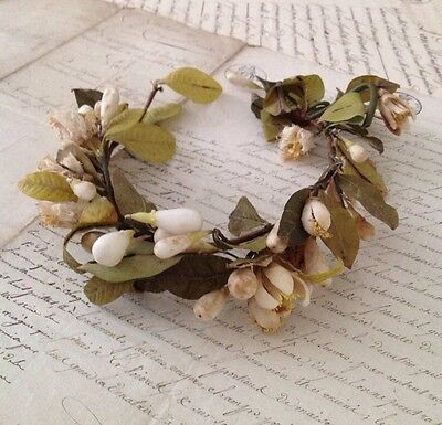 Antique French Wax Flower Bud Wedding Crown Tiara