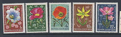 Russia 1974 SG4350-54 - Flowers -  MNH set of 5