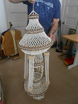 """Vintage Sea Shell Chandelier Large 50x16"""" Hanging Hand Made Great Condition"""
