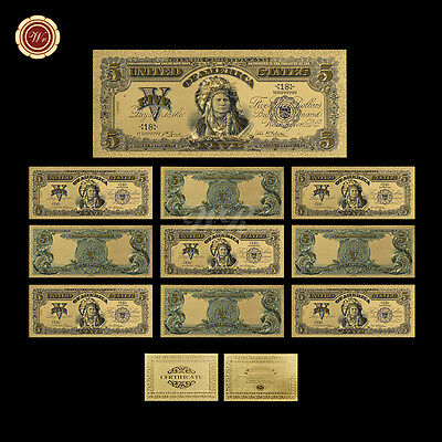 WR 10pcs 1899 Series $5 Chief One Papa Indian US Five Dollars Gold Banknote COA