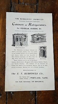 BURROWES' IMPROVED CABINETS  REFRIGERATORS 1895 Catalog Advertising PORTLAND ME