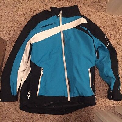 Motorfist Trophy Jacket Large Ocean/Blue - eVent Waterproof Snowmobile Gear