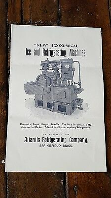 Ice and Refrigerator MACHINES Atlantic Refrigerating Co SPRINGFIELD MA c1895 AD