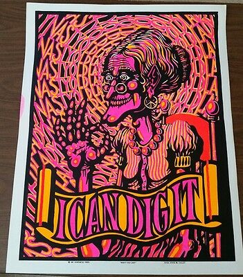 Rare Original Vintage 1968 Poster Blacklight Nasty Old Lady Synthetic Trips