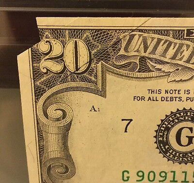 1977 $20 DOUBLE PRINTED-OVER FOLDS Error Note (1585C)