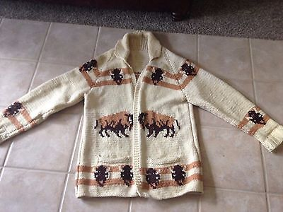 Vintage 1960 Mary Maxim hand knitted in Canada Buffalo Cardigan Sweater