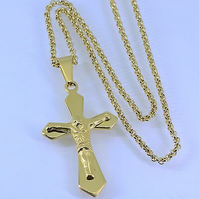 "18K Gold 316L Stainless Steel Small Jesus Cross Pendant 24""Necklace Box Chain"