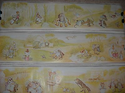 World of BEATRIX POTTER Wall Frieze Border 3 PANELS Nursery Decor CUTE!