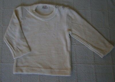 Vintage Baby Velour Long-Sleeve Top - Age 1-2 -  Cream  Cotton/Nylon - New