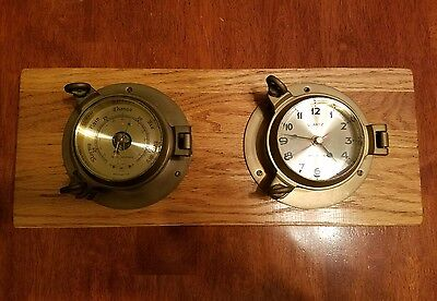 Royal Mariner barometer and clock brass porthole set