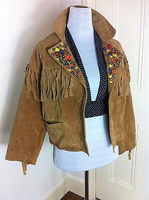 Vintage Tan Suede Sheepskin Tassel Fringed Floral Painted Retro Jacket 90s 12