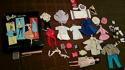 vintage 1961 barbie doll with case & clothes accesseries  toy lot