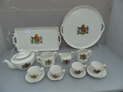 Crested Ware  2 x  Royal Tea Sets  Mixed Lot  10 Items inc 2 x Trays  SEE PHOTOS