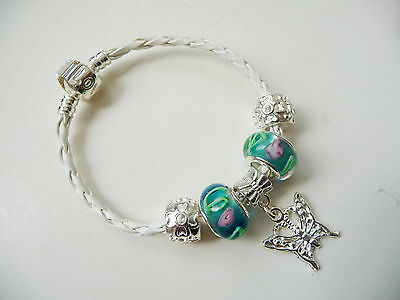Child girls White Leather Charm Bracelet european style, Love Clasp, Butterfly