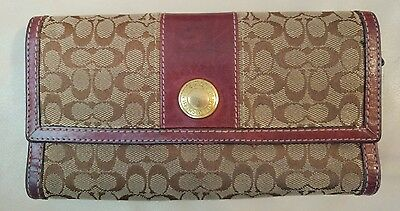 Preowned COACH Canvas and Leather Wallet/ Clutch - Brown /Gold & Burgundy