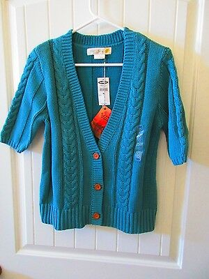 Old Navy Maternity Soft Cotton Cable Knit Cardigan Sweater, Solid Teal, M, NWT