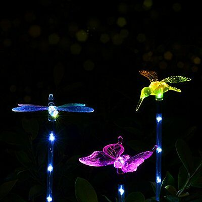 Dragonfly Hummingbird Stake Solar Led Light Garden Yard Path Walking Njoy Lighti