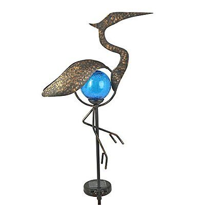 Solar Power Crane Statue Light Cordless Stake Garden Art Sculpture Metalic Grace