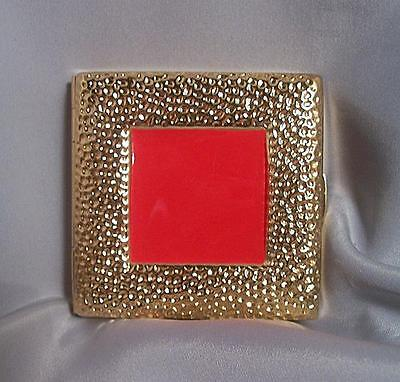 Estee Lauder Gold Gilded Lucidity Red Enamel Frame Powder Compact