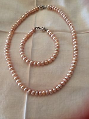 New Freshwater Pearls Necklace And Bracelet Set With Free Earrings