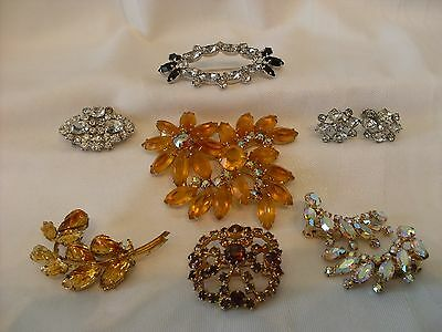 11 pc Lot of Vintage Rhinestone Brooches and Earrings