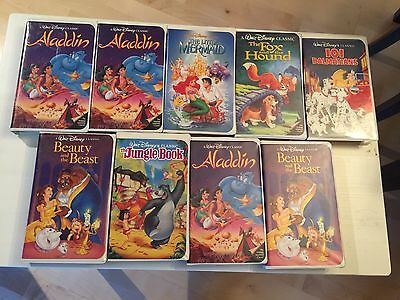 Lot Of 9 Walt Disney Black Diamond Movies RARE ! Beauty And The Beast Aladdin