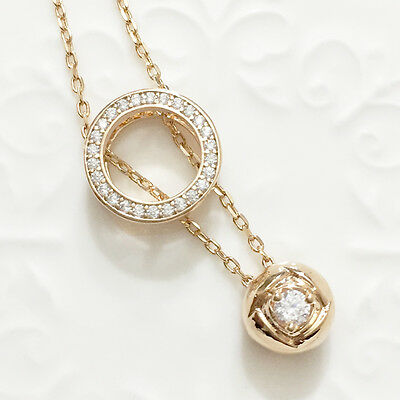 14k Yellow Gold Plated Rose Diamond Halo Pendant Chain Necklace 18""