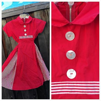 Vintage 50s 60s WHITE RED Child Girls Full Skirt Cotton Dress 6 7 Cotton