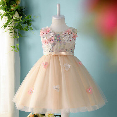 Champagne Short Wedding Flower Girl Dresses Kids Gril Dress Party Prom Gown