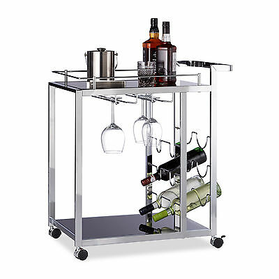 Design Serving Trolley, Black Kitchen Cart, Metal Storage Wagon, with Wheels