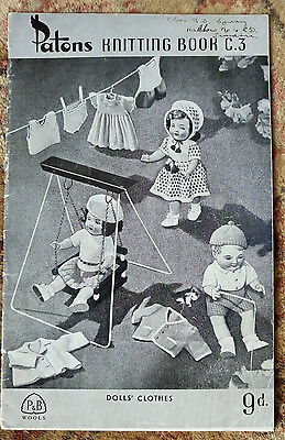 Dolls Clothes Patons C3 vintage knitting pattern book