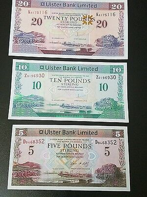 ireland banknotes 20+10+5 pounds 2007 to 2014 uncirculated
