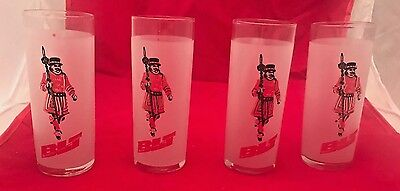 Set Of 4 Vintage Blt Frosted Beefeater Lime & Tonic Glasses Ec