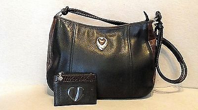 BRIGHTON Black Leather w/Brown Leather Trim Tote Shoulder Bag, w/Coin Purse