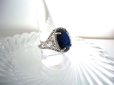 Exquisite 10Ct Natural  Sapphire Ring ~ Victorian Style ~Sterling Silver  925